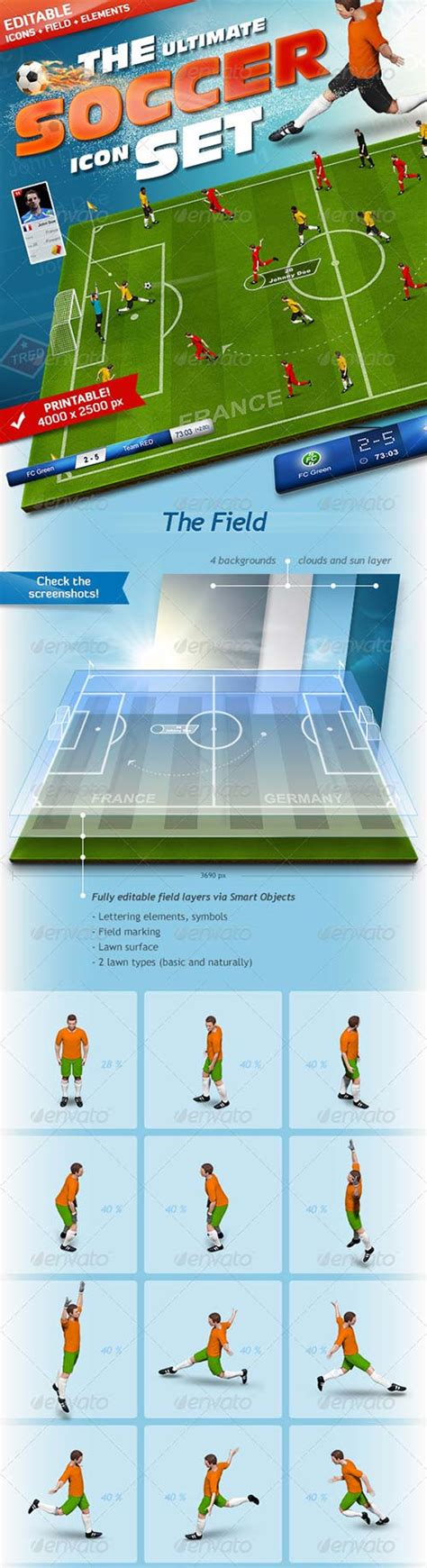 Kickers Psd graphicriver the soccer set kicker icons field and