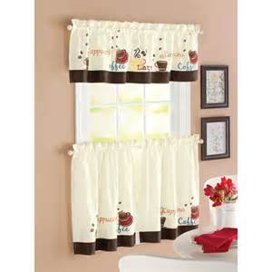 Walmart Curtains Kitchen Better Homes And Garden Coffee Window Tier Set Decor Walmart