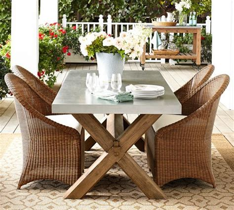 Pottery Barn Patio Table Abbott Zinc Top Rectangular Fixed Dining Table Palmetto Chair Set Pottery Barn Outdoor