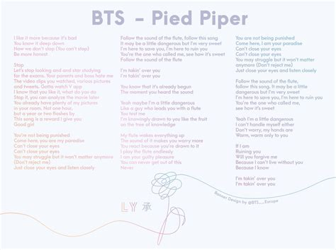 bts pied piper lyrics bts europe on twitter quot bts twt knows us very well we