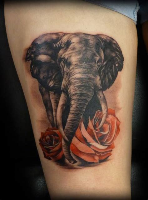 tattoo elephant leg elephant leg tattoo and roses let s get inked pinterest