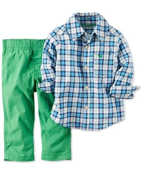 Handsome Boy Green Set Gw 89 s baby boys 2 plaid shirt green set bryant style green