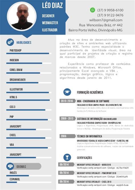 Modelo Curriculum Linkedin Curriculo Para Designer Leonildo Wagner 08 2016