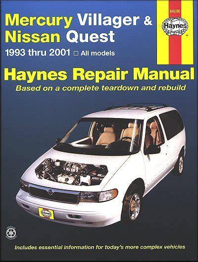 mercury villager nissan quest repair manual 1993 2001 haynes
