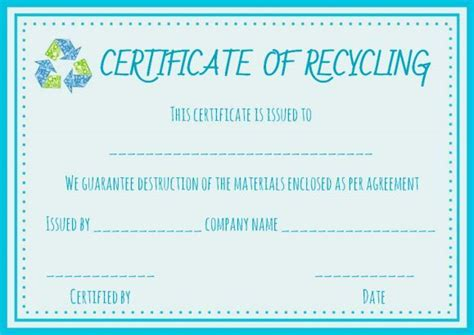 certificate of recycling template recycling certificate template certificate of