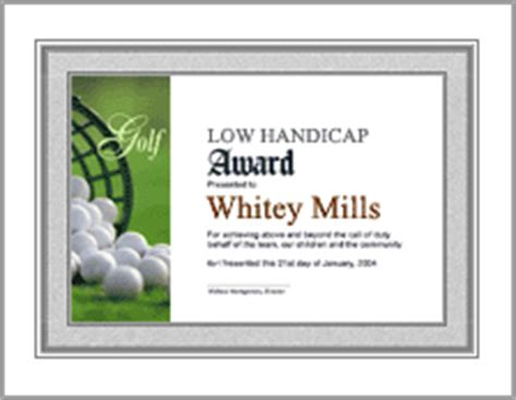 golf certificate template sports awards certificate sles