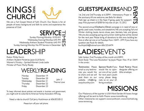 bulletin layout design free kings way church bulletin on behance
