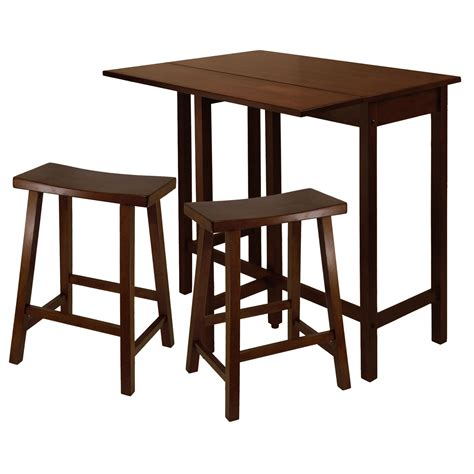 High Table With Stools by Lynnwood High Table With 2 Saddle Seat Stools By Winsome