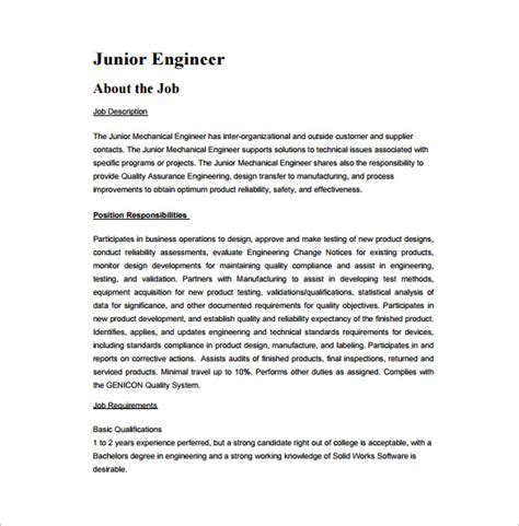 engineers pdf templates sle junior layout engineer description mechanical engineering description template 9 free