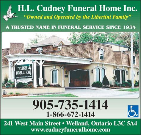 cudney funeral home inc welland on 241 west st