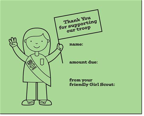 scout thank you cards template scout cookie thank you printables