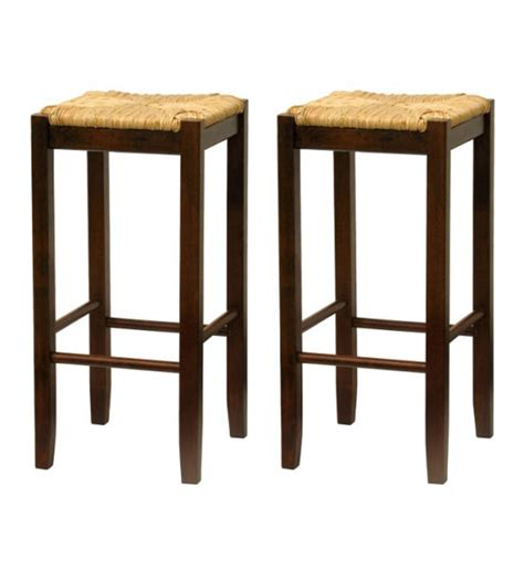 Woven Seat Bar Stools by Bar Stool With Woven Seat Set Of 2 In Wood Bar Stools