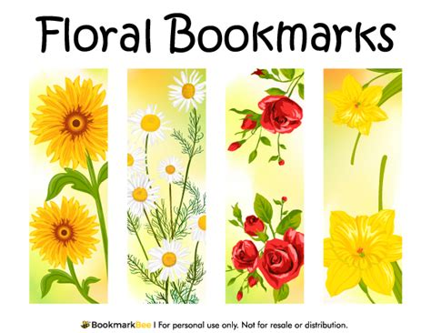 printable bookmarks with flowers printable floral bookmarks