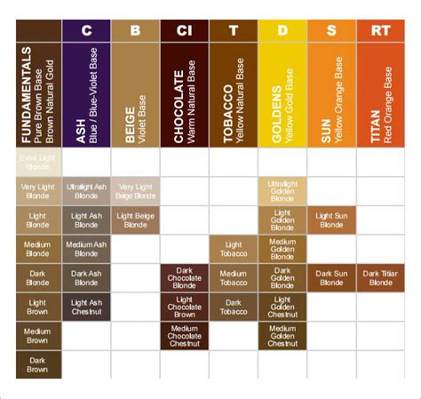 11 hair color chart templates free sle exle format