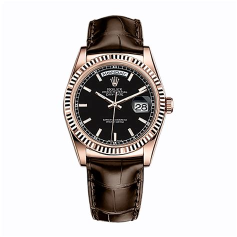 rolex angka black rosegold rolex day date 36 118135 gold black world s