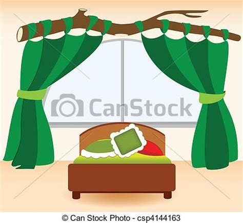 Bedroom Curtains Clipart Vectors Of The Green Curtains Illustration Infant