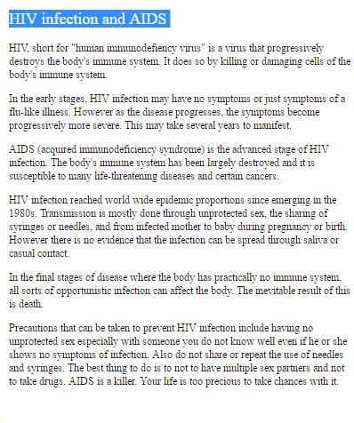 Essays On Hiv And Aids