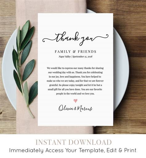 how to say thank you for a wedding gift wedding thank you letter thank you note printable wedding in