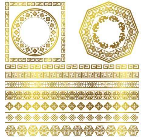 chinese pattern frame vector free golden frame with ornaments border vector vector frames