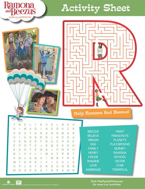 Ramona Forever Worksheets by Assorted Maze Activity Sheets Ramona And Beezus Word