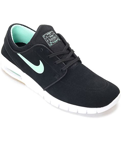zumiez shoes for nike sb stefan janoski max black green glow skate shoes