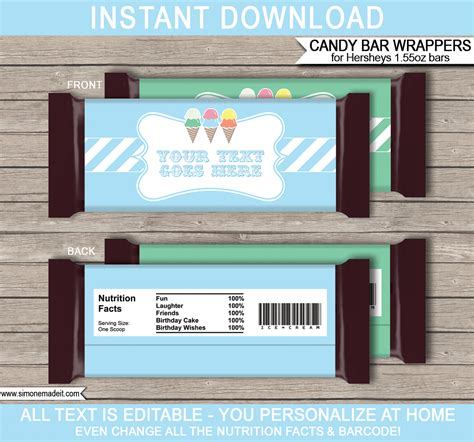 ice cream party hershey candy bar wrappers personalized
