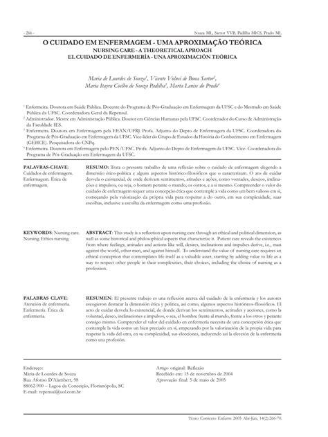 (PDF) O Cuidado em Enfermagem: uma aproximação teórica