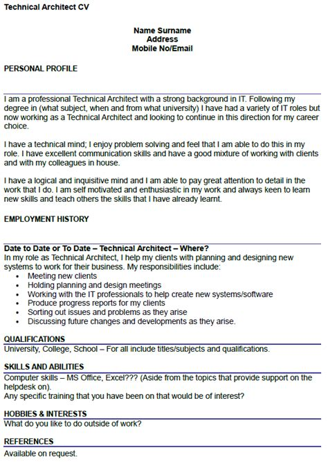 technical architect cv example icover org uk