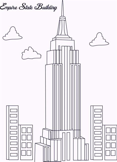 Empire State Building In New York Coloring Pages Build A Coloring Pages