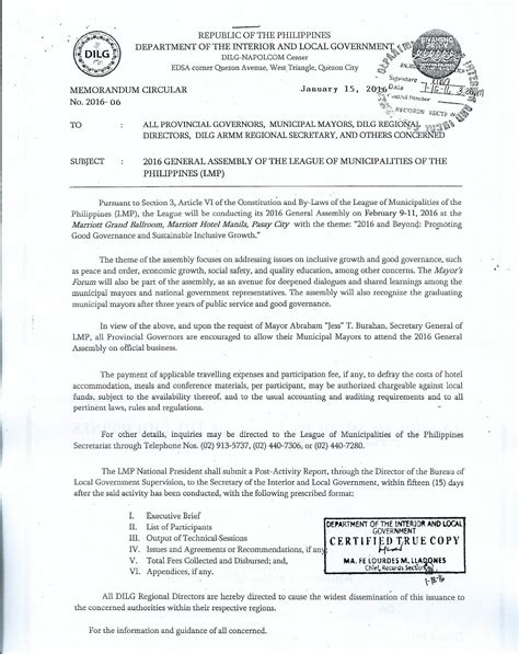 Sle Memo General Assembly Dilg Memo Circular For The 2016 Lmp General Assembly