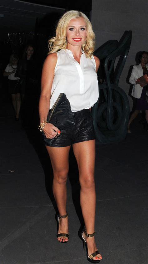 Code Mimi Hotpants katherine jenkins flashes legs in leather shorts