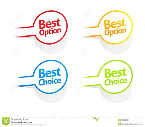 best options best option and choice sticker collection royalty free
