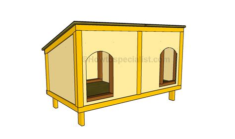 plans to build dog house how to build a double dog house howtospecialist how to build step by step diy plans