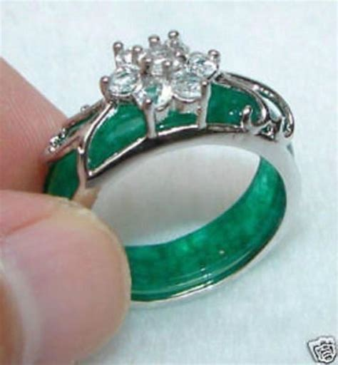trendy new silver twine green jade inlay