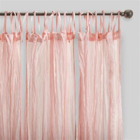 Blush Pink Curtains Blush Pink Crinkle Cotton Voile Curtains Set Of 2 World Market