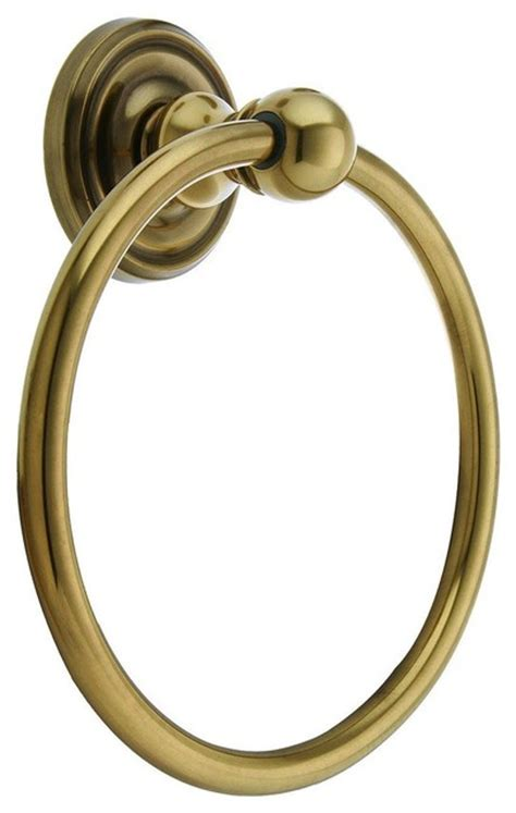 brass towel ring with classic rosette antique brass