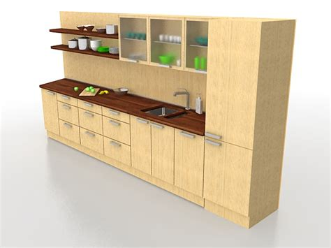straight line kitchen kitchen wall shelf design one wall kitchen cabinets 3d model 3ds max files free