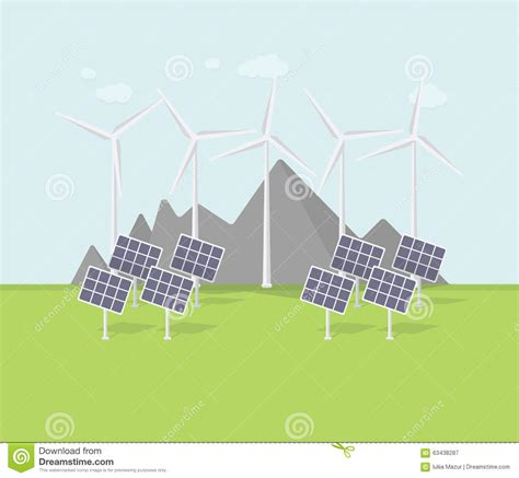 flat eco design rural landscape with windmill solar