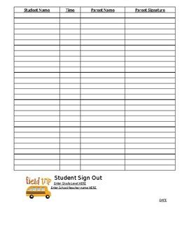 field trip parent sign out sheet by