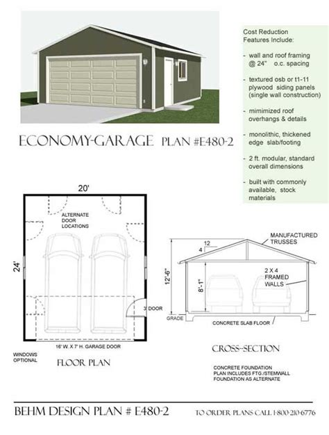 20 x 24 garage plans economy 2 car garage plan e480 2 by behm design 20 x 24