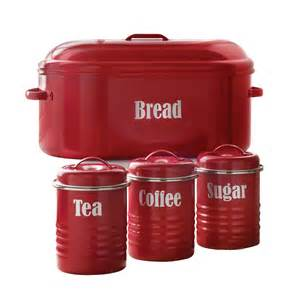 typhoon vintage red 4 piece bread bin and canister set