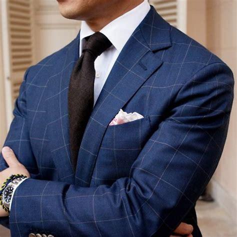 brown pattern suit pattern play window pane check suit in navy blue wool