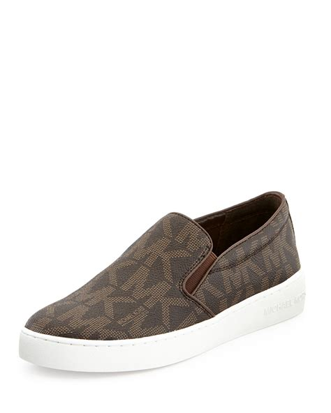 michael kors slip on sneakers michael michael kors keaton slipon sneaker in brown lyst