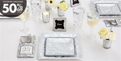Silver 25th Wedding Anniversary Party Supplies   50th
