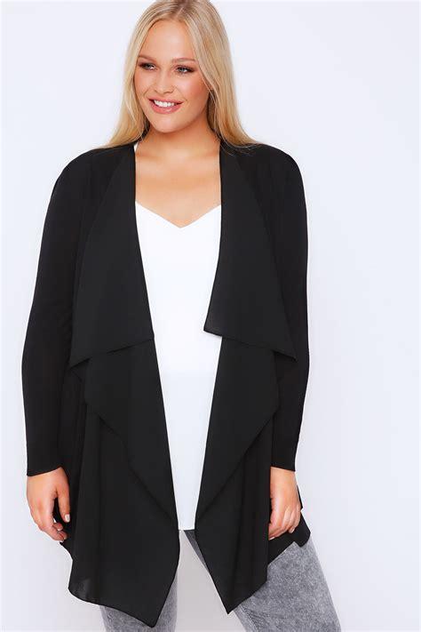 Hoodie Cardigan Chiffon Import 1 black chiffon trim waterfall cardigan plus size 16 to 36