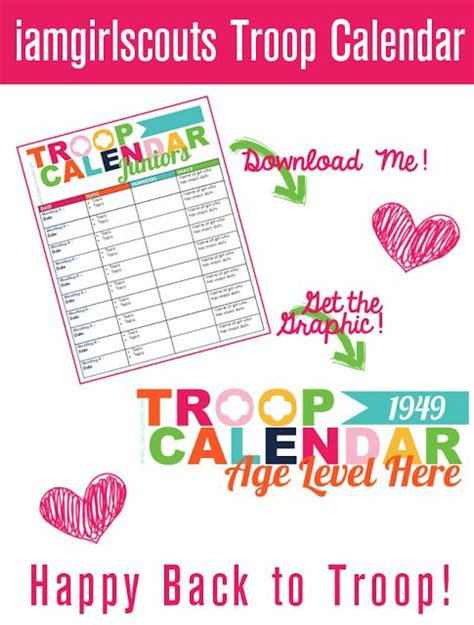 Girl Scout Calendar Template troops calendar and student centered resources on