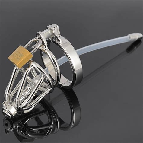 urethral chastity short small size stainless steel male chastity cage device