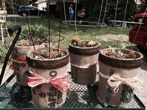 vegetable planters   gallon buckets covered