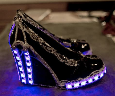 light up high heel shoes steunk heels with lace jewels and led lighting what