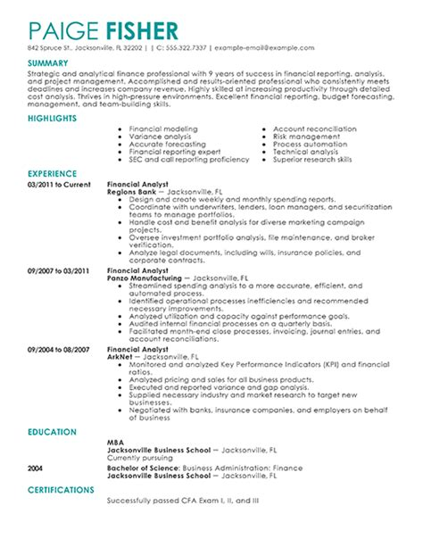 Sle Resume Financial Analyst Mba by Best Financial Analyst Resume Exle Livecareer
